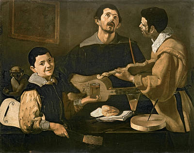 Playing Photograph - Three Musicians, 1618 Oil On Canvas by Diego Rodriguez de Silva y Velazquez