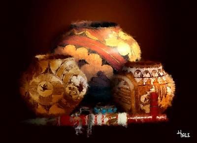 Bison Digital Art - Three Old Pots by Roger D Hale