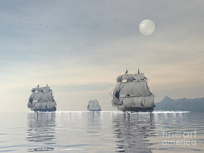 Three Old Ships Sailing In The Ocean Print by Elena Duvernay