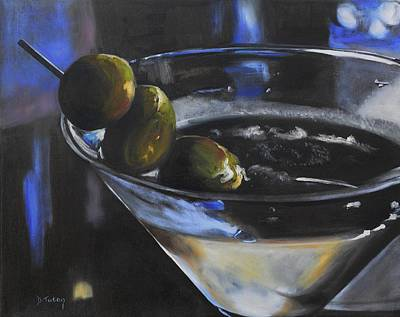 Martini Painting - Three Olive Martini by Donna Tuten