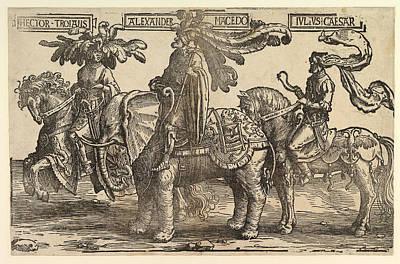 Lucas Van Leyden Drawing - Three Pagan Heroes Hector Alexander Julius Caesar by Lucas van Leyden