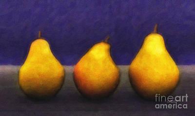 Pear Digital Art - Three Pears by Jutta Maria Pusl