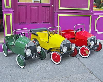 Three Pedal Cars Print by David Thompson