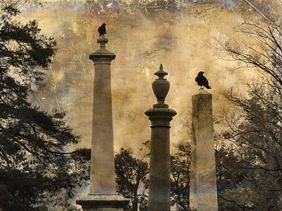 Three Perches Two Crows Print by Gothicolors Donna Snyder