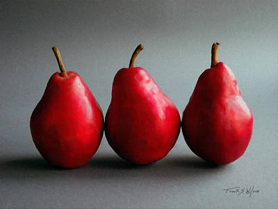 With Red. Photograph - Three Red Pears by Frank Wilson