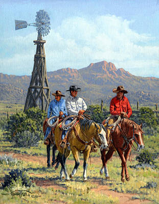 Ranchers Painting - Three Riders by Randy Follis