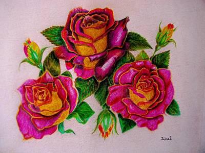 Garden Drawing - Three Roses by Zina Stromberg