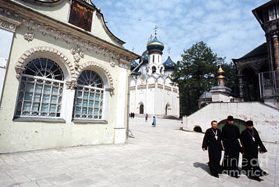 Three Russian Orthodox Priests At Zagorsk Monestery 1967  Print by The Phillip Harrington Collection