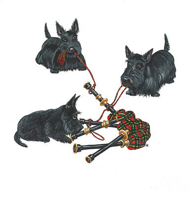 Animation Painting - Three Scotties And The Pipes by Margaryta Yermolayeva