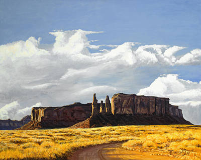 Tim Painting - Three Sisters Monument Valley by Timithy L Gordon