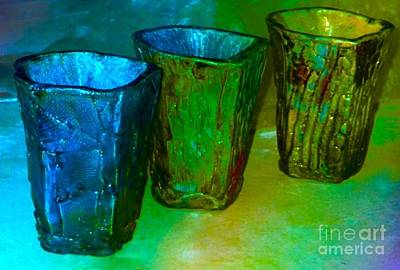 Raku Ceramic Art - Three Smoke Fired Vases by Joan-Violet Stretch