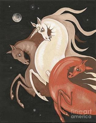 Stary Sky Painting - Three Spirits by Margaryta Yermolayeva