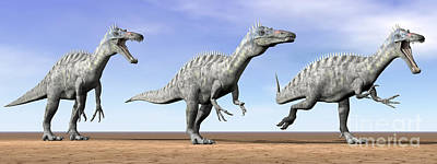 Anger Digital Art - Three Suchomimus Dinosaurs Standing by Elena Duvernay