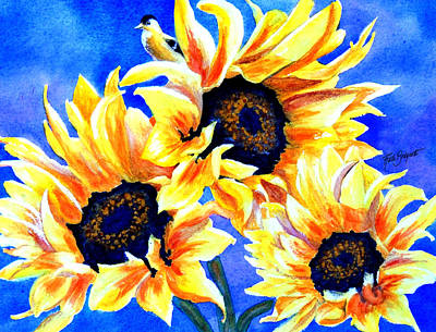 Three Sunflowers And A Goldfinch Original by Ruth Bodycott