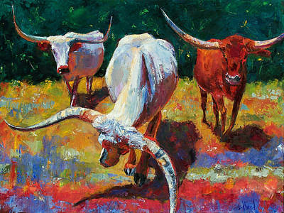 Three Texas Longhorns Print by Debra Hurd