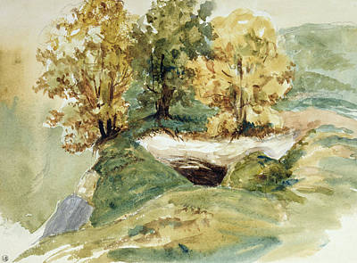 Edge Drawing - Three Trees At The Edge Of A Hill by Ferdinand Victor Eugene Delacroix