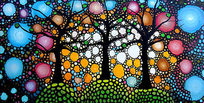 Fantasy Tree Art Painting - Three Trees On A Hill by Shirley Smith