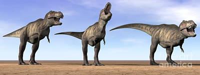 Anger Digital Art - Three Tyrannosaurus Rex Dinosaurs by Elena Duvernay