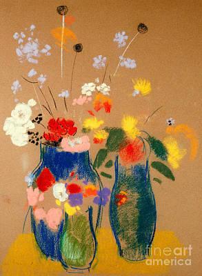 Three Vases Of Flowers Print by Odilon Redon