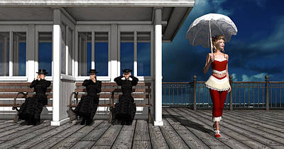 Ape Mixed Media - Three Victorian Ladies And The Scandal by Britta Glodde