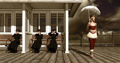 Ape Mixed Media - Three Victorian Ladies Sepia by Britta Glodde