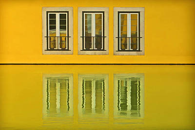 Three Windows Reflecting In The Water Print by David Letts