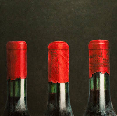Wine-bottle Painting - Three Wines by Lincoln Seligman