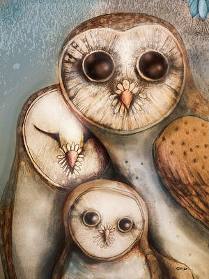 Owl Painting - Three Wise Owls by Karin Taylor