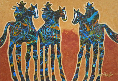 Cowgirls Painting - Three With Rope by Lance Headlee