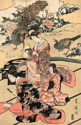 Three Women Sitting In A Room With Elaborate Wall Painting Of Peacocks Print by Utagawa Toyohiro