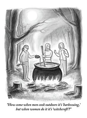 Three Women Stand Around A Large Cauldron Print by Paul Noth