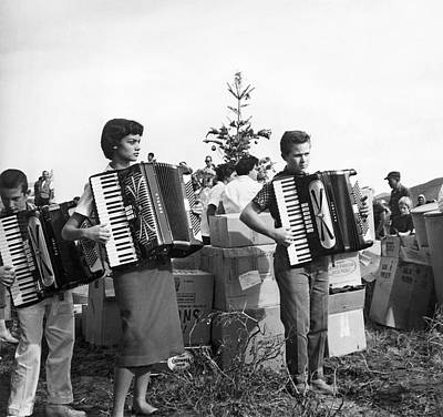 1950s Music Photograph - Three Young Accordion Players by Underwood Archives