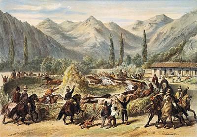 Threshing In Chile Illustration Fom Print by Everett