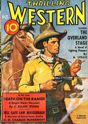 Cowboy Hat Photograph - Thrilling Western Comic Book Cover by Studio Art
