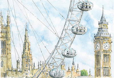 London Eye Drawing - Through The Eye by Martin Baker