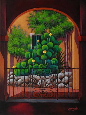 Southwest Gate Painting - Through The Portico by Gayle Faucette Wisbon
