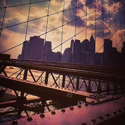 Bridge Photograph - Colorful Brooklyn Bridge by Charlie Cliques