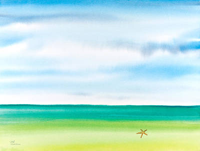 Throwing Starfish Into The Sea Watercolor Painting Original by Michelle Wiarda