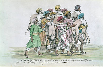 Thugs Carrying Dead Travellers Print by British Library