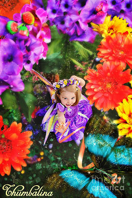 Thumbelina Looks Up Holding Her Butterfly In Fairy Tale Garden Print by Fairy Tales Imagery Inc