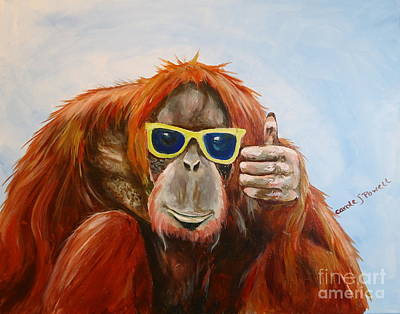 Chimpanzee Painting - Thumbs Up by Carole Powell