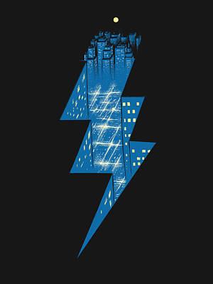 Digital Art - Thunder City by Carbine