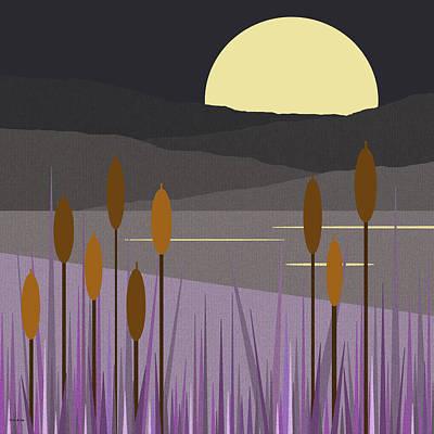 Minimalist Landscape Digital Art - Thunder Moon by Val Arie