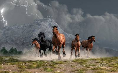 Western Themed Digital Art - Thunder On The Plains by Daniel Eskridge
