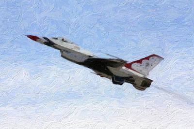 Jet Mixed Media - Thunderbird Jet In Flight by Gravityx9 Designs