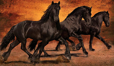 Digital Digital Art - Thundering Hooves by Jean Hildebrant