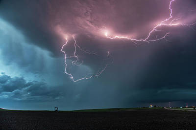 Extreme Weather Photograph - Thunderstorm At Dusk by Roger Hill