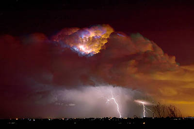 Lightning Images Photograph - Thunderstorm Boulder County Colorado   by James BO  Insogna