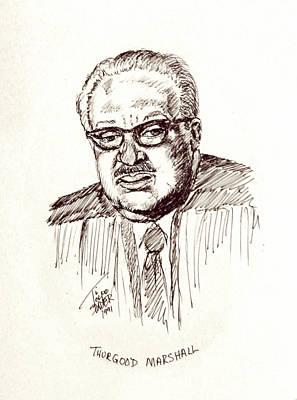 Lyndon Drawing - Thurgood Marshall by Art By - Ti   Tolpo Bader