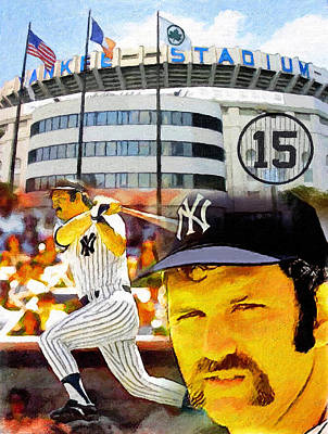Yankee Stadium Painting - Thurman Munson Yankee For Life by John Farr